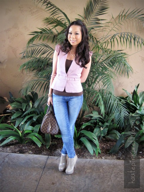 An Dyer in Forever 21 Pink Ruffle Vest Top & Ring | Charlotte Russe Acid Wash Jeggings | Steve Madden Taupe Raven Boots | Louis Vuitton Ribera Mm | Brass Plum Camisole | Michael Kors Watch | Handmade Necklace by my Mom