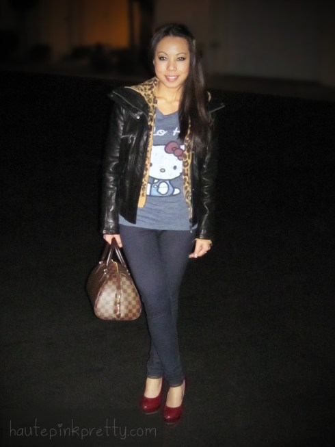 An Dyer in DKNY Lambskin Leather Jacket | Louis Vuitton Ribera Mm | ShoeDazzle London Pumps | LAMB Leopard Print Hoodie | Forever 21 Hello Kitty Tee & Jeggings | Brass Plum Heart Cuff Bracelet