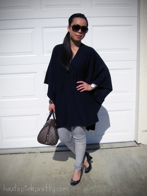 An Dyer in Navy H&M Poncho | Grey Foreign Exchange Jeggings | Patent Leather Navy Seychelles Wedges | Grey Banana An Lenny Sunglasses | Louis Vuitton Ribera Mm | Michael Kors Watch