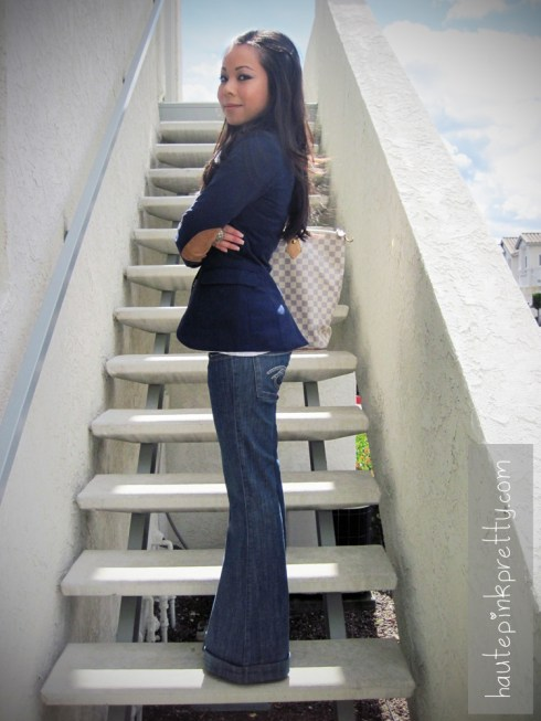 An Dyer in Jessica Simpson Grey Dany | JC Penney Dome Ring | Louis Vuitton Saleya Gm | H&M Navy Sportcoat | Pinkzone Wooden Necklace | Frankie B Wide Leg Cuffed Jeans | Forever 21 Burnout V Neck Tee