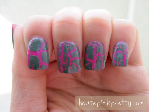 An Dyer China Glaze Grey Crackle Polish over Hot Pink Nails