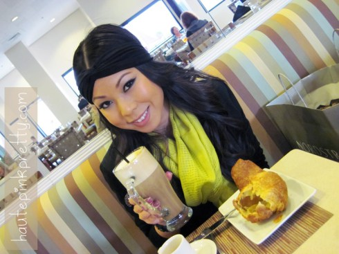 An Dyer in Topshop Black Waterfall Jacket, Brass Plum Grey Tee, Forever 21 Turban Headband and Chartreuse Scarf, JC Penny Plum Crystal Ring at Neiman Marcus Zodiac Restaurant Non Fat Latte