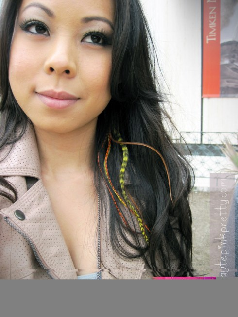 An Dyer in H&M Blush Perforated Leather Biker Jacket, American Basics Burnout Tank, Forever21 Angel Wing Necklace, Hair Feather