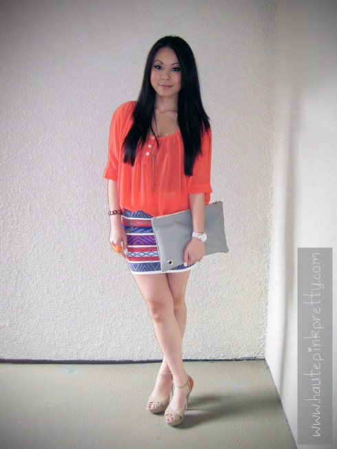 An Dyer in Love Melrose Top and Mini Skirt | American Apparel Medium Leather Carry-All Pouch + DIY | Banana An Orange Corazon Ring | Forever21 Necklace | ShoeDazzle Lucia Sandals
