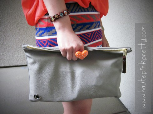 American Apparel Stone Medium Leather Carry-All Pouch + DIY, Love Melrose Top and Mini Skirt, Banana An Orange Corazon Ring