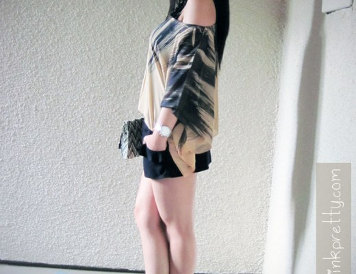 An Dyer in popKiller Feather Batwing Blouse, Forever 21 Black Ruffle Shorts, H&M Clutch and Jessica Simpson Trixie 2