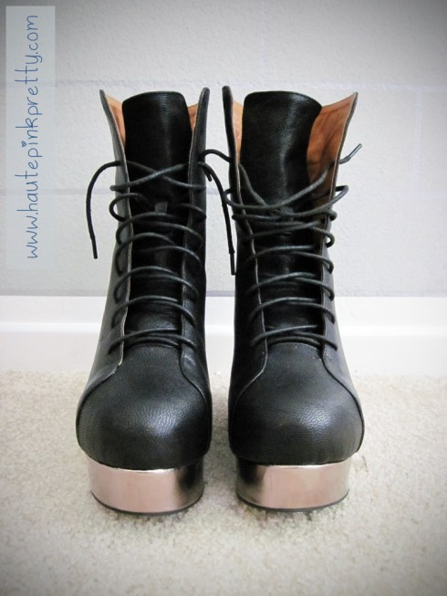 Jeffrey Campbell Back Off Black Silver Boot