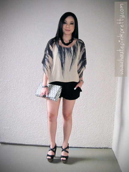 An Dyer in popKiller Feather Batwing Blouse, Banana An Black Sloan Necklace, Forever 21 Black Ruffle Shorts, H&M Clutch and Jessica Simpson Trixie Black Platforms