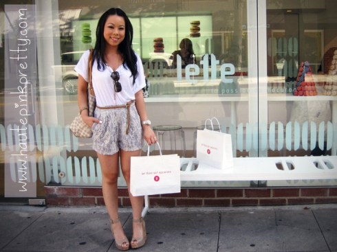 An Dyer in Forever21 Tee, belt and necklace, popKiller Lace Shorts, ShoeDazzle Mulberry Wedges at Paulettes