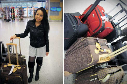 An Dyer in DKNY Leather Moto Jacket, Forever 21 Heather Grey Tunic and Leg Warmers, Hunter Boots with Luggage
