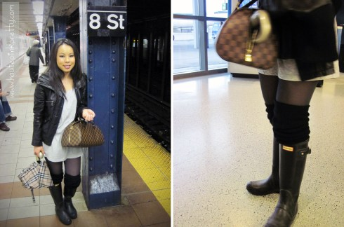 An Dyer in DKNY Leather Moto Jacket, Forever 21 Heather Grey Tunic and Leg Warmers, Hunter Boots, Burberry Umbrella, Louis Vuitton Damier Ribera Mm