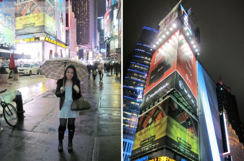 An Dyer in DKNY Leather Moto Jacket, Forever 21 Heather Grey Tunic and Leg Warmers, Hunter Boots in Time Square
