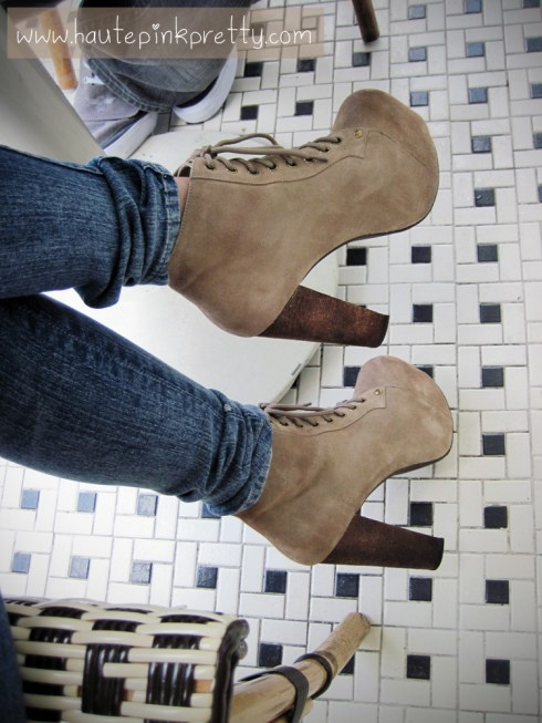 An Dyer in Charlotte Russe Jeggings, Jeffrey Campbell Lita in Taupe Suede