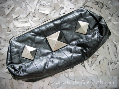 An Dyer's Aldo Black Studded Quilted Clutch