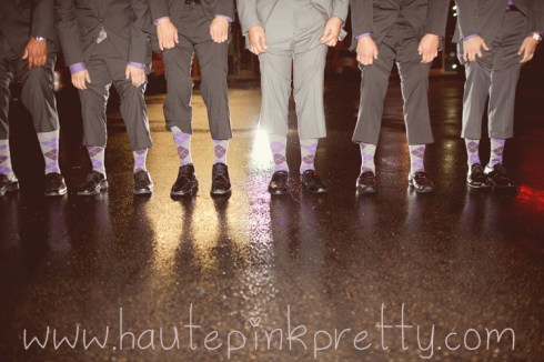 Dyer Wedding - Grey and Plum Argyle Matching Groomsmen Socks
