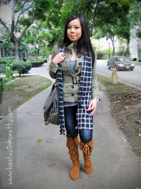 An Dyer in H&M Military Jacket, Brass Plum Grey Tee, Minnetonka Lace-Up Suede Fringe Boots, Big Buddha Grey Fringe Vegan Rita Hobo, Buffalo Jeans Scarf and Felow Skinny Jeans