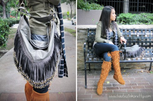 An Dyer in H&M Military Jacket, Brass Plum Grey Tee, Minnetonka Lace-Up Suede Fringe Boots, Big Buddha Grey Fringe Vegan Rita Hobo, Buffalo Jeans Scarf and Felow Skinny Jeans 6