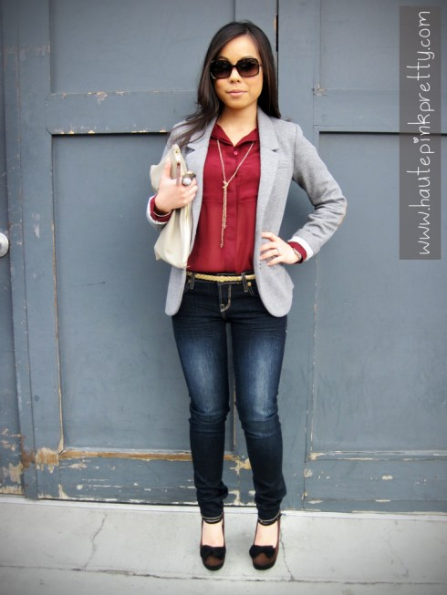 An Dyer in Buffalo David Bitton Felow Skinny Jeans, H&M Grey Sport Coat, TopShop Burgundy Chiffon Blouse, Forever 21 Belt & Necklace, JC Penney Owl Ring, American Apparel Clutch, Fendi Sunglasses, Sole Society Carrie Mary Janes