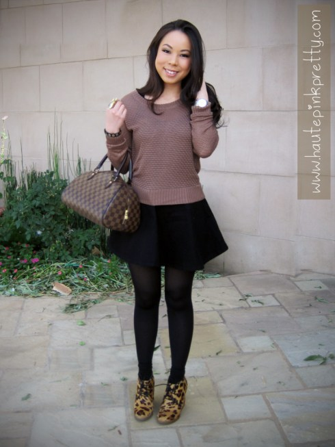 An Dyer in Forever 21 Sweater, American Apparel Black Denim Circle Skirt, ShoeMint Jolly Leopard and Louis Vuitton Ribera Mm