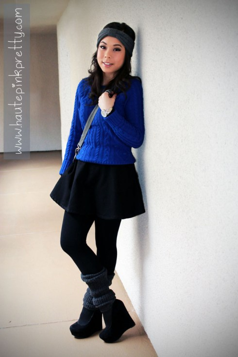 An Dyer in Forever 21 Cerulean Blue Cable Knit Sweater, Grey Turban Headband and Leg Warmers, American Apparel Circle Skirt Black Denim, Big Buddha Rita Hobo, Decree Wrapped Finger Ring, Baker Black Maddie Wedge