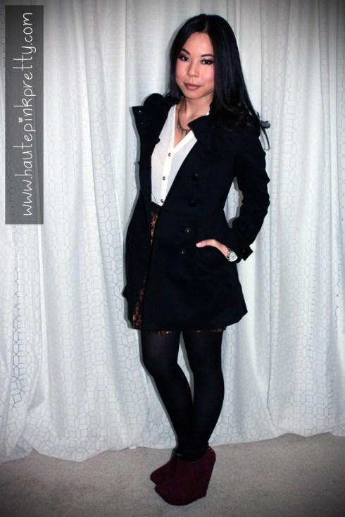 An Dyer in H&M Black Double Breasted Pea Coat, TopShop Chiffon Side Tuck Blouse, Sutton Lasater Brass Spike Bib Necklace, Zara Leopard Skirt, ShoeMint Pauline in Wine