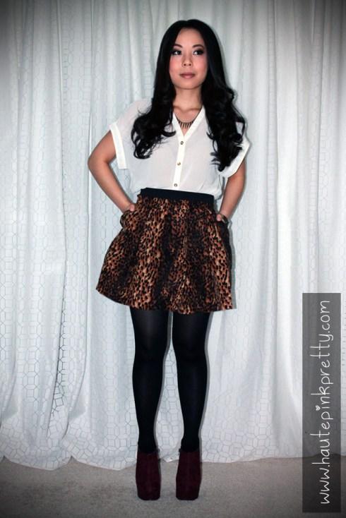 An Dyer in TopShop Chiffon Side Tuck Blouse, Sutton Lasater Brass Spike Bib Necklace, Zara Leopard Skirt, ShoeMint Pauline in Wine