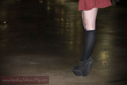 An Dyer in American Apparel Corduroy Circle Skirt in Truffle, Merona Knee High Socks, ShoeMint Pauline Black Suede