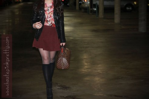 5 An Dyer in Staring At Stars Chiffon Button-Down Shirt, American Apparel Corduroy Circle Skirt in Truffle, DKNY Leather Bomber Jacket, Merona Knee High Socks, ShoeMint Pauline Black Suede, Louis Vuitton RIberra, Forever 21 Feather Necklace