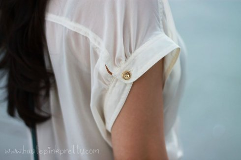 An Dyer in TopShop Chiffon Side Tucked Blouse