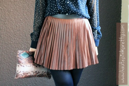 An Dyer in Zara Star Blouse and Snakeskin Clutch, Blossom and Clover Brown Faux Leather Pleated Skirt, Black Tights