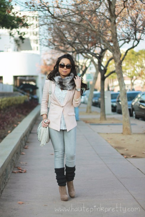 An Dyer in H&M Pink Linen Blazer, Forever 21 Sheer Striped Ruffle Blouse, Faux Fur Snood & Charcoal Leg Warmers, Fendi Classico Sunglasses, Mellie Bianco Creme Bag, BCBGeneration Joesana Boots, Foreign Exchange Grey Jeggings, JCPenney Pearl Rhinestone Floral Ring