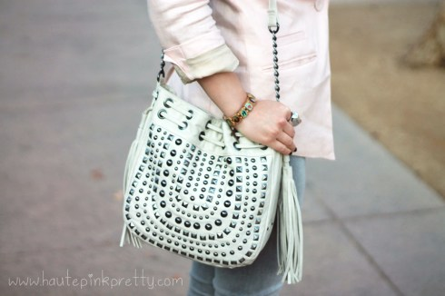 An Dyer in H&M Pink Linen Blazer, Mellie Bianco Cream Studded Fringe Crossbody Bag, Foreign Exchange Grey Jeggings