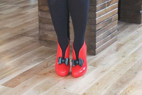 An Dyer wearing Moo Venice Shoes with Opaque Tights