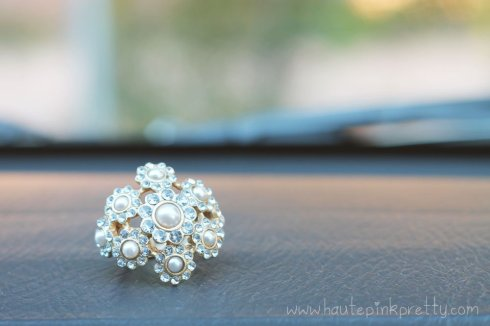 JCPenney Pearl Rhinestone Floral Ring