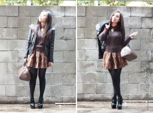 An Dyer in TopShop Blouse, American Apparel Brown Cable Knit Pull Over, DKNY Leather Bomber Jacket, Zara Leopard Skirt, Steve Madden Raven Boots and Louis Vuitton Ribera Mm