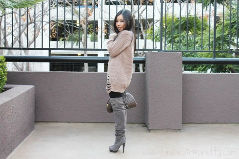An Dyer in Chunky Oversized Cable Knit Sweater, Baker's OTK Suede Taupe Boots, Louis Vuitton Ribera Mm & Transparent Monogram Inclusion Translucide Pendant, Decree White Stone Ring, JewelMint Polar Ends Bracelet