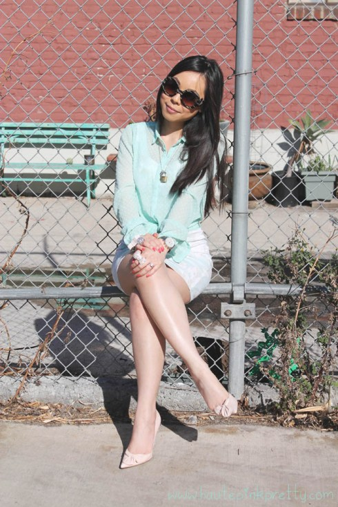 An Dyer in Zara Mint Green Dotted Swiss Shirt Blouse, H&M Floral Dress and Blush Pink Bow Bracelet, Guess by Marciano Blush Pink Bow Pump, Marc Jacob Mini Padlock Set Necklace, Prada Black Horn Camel Baroque Runway SS11 Round Sunglasses, Louis Vuitton Damier Azur Saleya Gm, Michael Kors Mother of Pearl Chronograph Watch, Forever 21 Cocktail Rings
