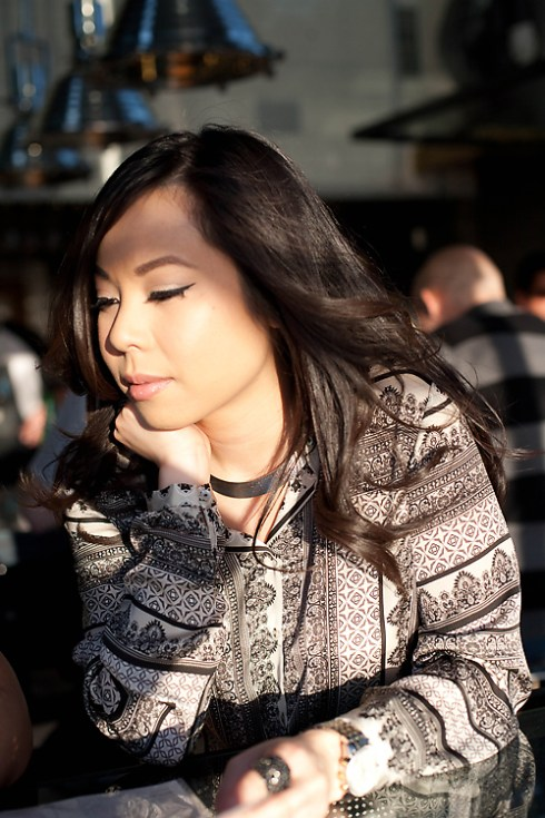 An Dyer in Zara Scarf Print Blouse and Forever 21 Crescent Necklace at Underbelly - photo by Michelle Hayes Photography