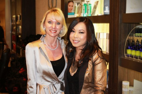An Dyer with Bellus Academy President & Owner Lynelle Lynch at PG Wella Trendvision Bellus Salon