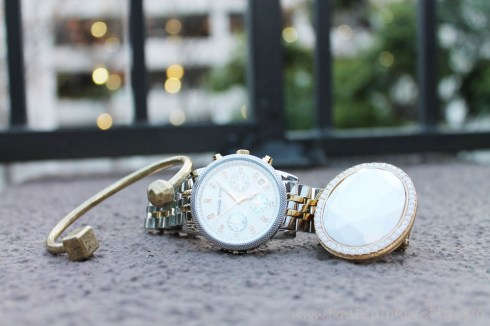JewelMint Polar Ends Bracelet, Michael Kors Mother of Pearl Chronograph Watch, Decree White Stone Ring