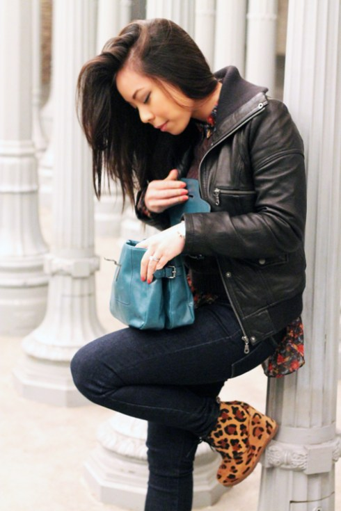 DKNY Leather Bomber Jacket | Staring at Stars Chiffon Button-Down Shirt in Red | American Apparel Brown Cable Knit Pull Over | Levi's The Legging Skinny Jeans | ShoeMint Jolly in Leopard Pony  | Zara Teal City Bag with Fastener