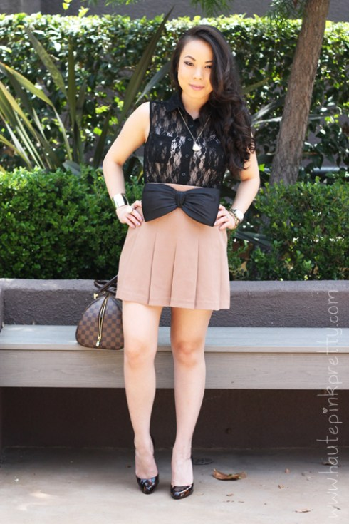Forever 21 Gold Cuff, Buttoned Lace Bodysuit and Box Pleated Skirt   H&M Bow Belt   Christian Louboutin Decollette 868 100 Glittart Pumps   Marc Jacob Heart Mirror Necklace   Louis Vuitton Damier Ribera Mm