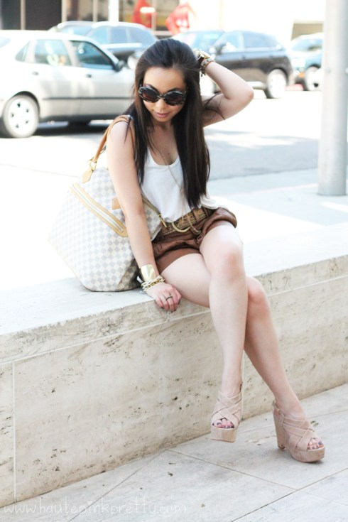 Prada Round Baroque Sunglasses | Dolce Vita Garren Wedge | Michael Kors Parker Watch | Glint & Gleam Arm Candy | Forever 21 Tank, Bandeau and Shorts | Brass Plum Bronze Studded Belt | Louis Vuitton Damier Azur Saleya GM