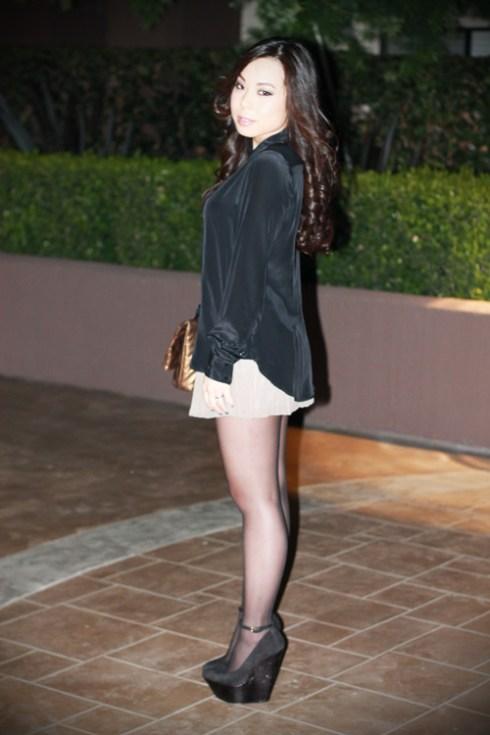 Zara Metal Tip Black Silk Shirt   H&M Pleated Chiffon Shorts   Wild Pair Lola Wedges