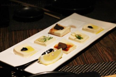Sushi Roku Premium Tofu 3 Ways White Truffles, Caviar & Lemon Oil,Tokyo Scallions & Sesame