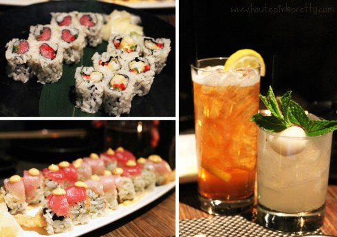 Sushi Roku Toro & Jalapeno, Popcorn Shrimp Tempura w Jalapeno, Katana Roll,Spiked Arnold Palmer, Ginger Lychee Mojito