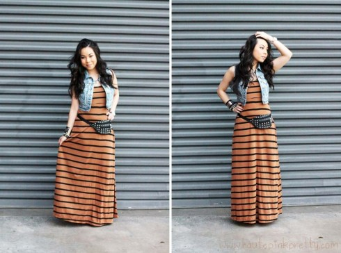 Forever 21 Camel Black Striped Maxi Dress, Spiked Ring and Distressed Denim Crop Vest | Alex & Chloe for Forever 21 Rhinestone Geo Necklace | SoleSociety Val Colorblock Platform Sandal in Black Mohogany Neon Orange | California Raw Steel by Roger Hayes Leather Cuff | DIY Studded Leather Fanny Pack | Black Rosary Bracelet | Silver Spiked Bracelet