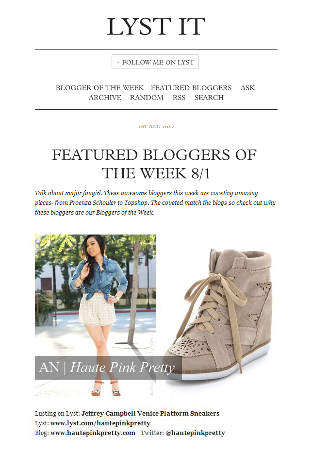 HautePinkPretty.com featured on LYST as a Blogger of the Week