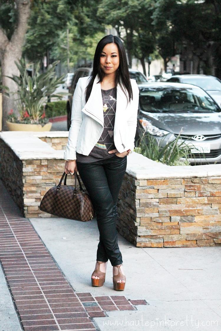 318e3035a04816 An Dyer wearing Bebe Asymmetrical Leatherette Jacket, Zara TRF Waxed Effect  Trousers, Forever 21
