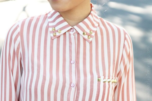 www.HautePinkPretty.com - An Dyer wearing Forever 21 Pink Striped Sheer Blouse with DIY Studs
